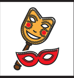 Different vintage masks for carnival vector