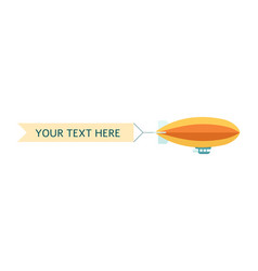 dirigible or zeppelin with ribbon banner flat vector image