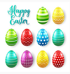 Easter eggs colored set spring holidays in april vector