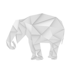 elephant white paper polygonal vector image