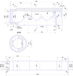 Engineering drawing of steel bush vector