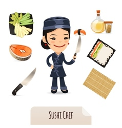 Female Sushi Chef Icons Set vector image