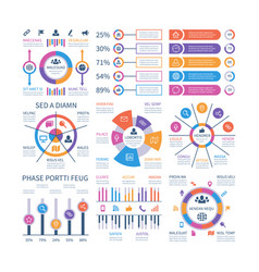 Financial infographic business bar graph and flow vector