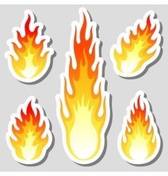 Fire flame stickers set vector image