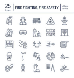 Firefighting fire safety equipment flat line vector