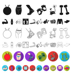 Fitness and attributes flat icons in set vector