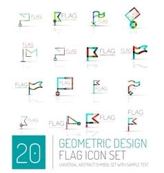 Flag icon logo set linear design vector image vector image