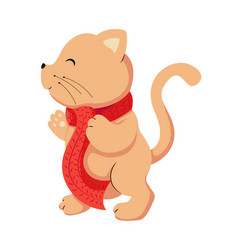 flat cat animal for christmas vector image