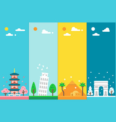 Flat design 4 seasons landmarks vector