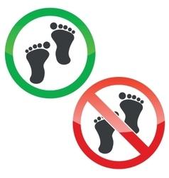 Footprint permission signs set vector