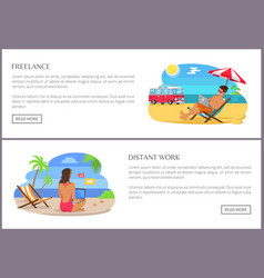Freelance and distant work set vector