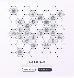 Garage sale concept in honeycombs vector