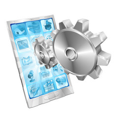 gear cogs flying out of phone screen concept vector image