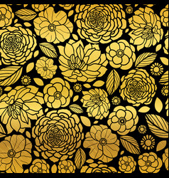 Gold and black mosaic flowers seamless vector