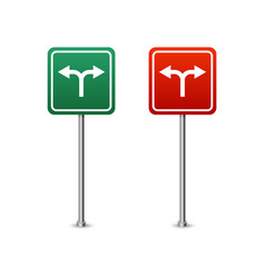 green and red highway sign with arrows board vector image