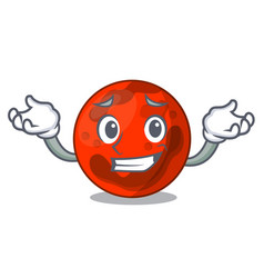 Grinning mars planet character cartoon vector
