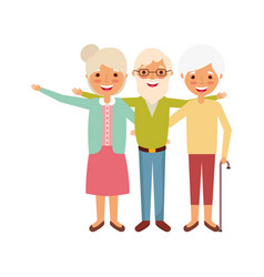 Group of old people embraced portrait vector
