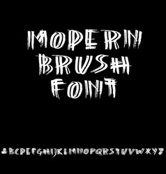 Grunge distress font modern dry brush ink letters vector