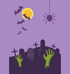 halloween banner tomb stone zombie hand from vector image