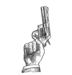 hand holding revolver for fired to starting vector image
