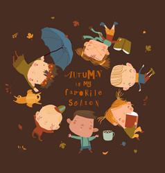 Happy children lying on grass hello autumn vector