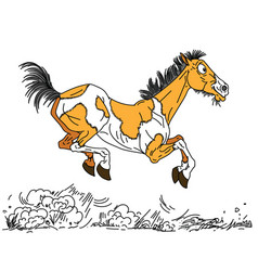 happy old horse vector image