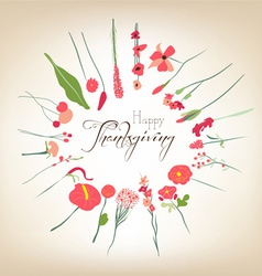 Happy Thanksgiving florals wreath vector