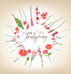 Happy thanksgiving florals wreath vector