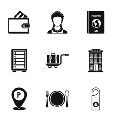 Hostel icons set simple style vector