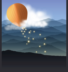 hot air balloon with falling stars vector image