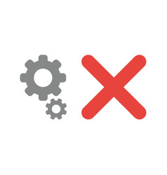 Icon concept of gears with x mark vector
