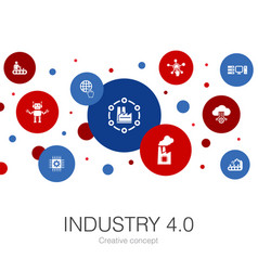 Industry 40 trendy circle template with simple vector