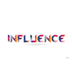 Influence colored rainbow word text suitable vector