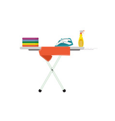 ironing board with clothes iron and spray water vector image