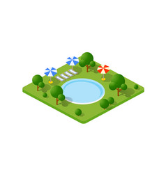 isometric 3d trees park vector image