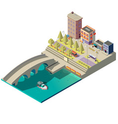 Isometric map town with buildings vector