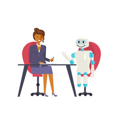 job interview with real people and robot vector image