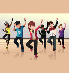 Kids in hip hop dance class vector