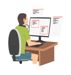 Man as software developer or programmer engaged in vector