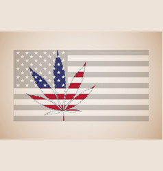 marijuana leaf in color of usas flag retro style vector image