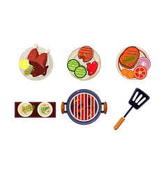 Meat and fish dishes cooked on the grill tasty vector