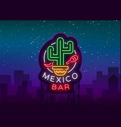 Mexican bar is a neon-style logo neon sign vector