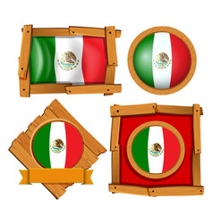 Mexico flag in different frame designs vector