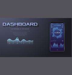 Mobile app single screen kit statistics dashboard vector