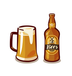 mug of craft beer with foam bottle ale or lager vector image