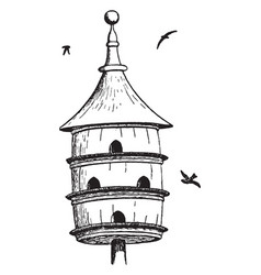 multi level bird house vintage vector image