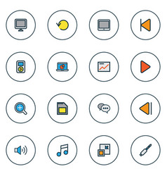 Music icons colored line set with audio monitor vector