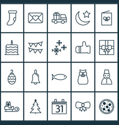 new icons set with calendar night snowman and vector image