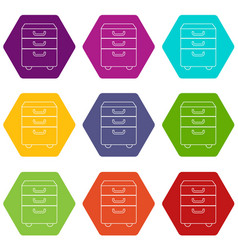 office closet icons set 9 vector image