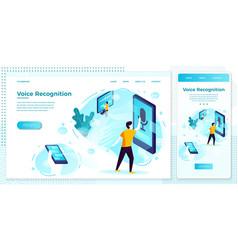Online voice recognition app web set vector